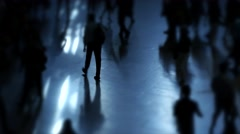 Unrecognizable people walking on crowded street. city commuters scene Stock Footage
