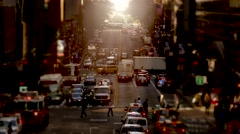 Crowded street in new york city at rush hour time Stock Footage