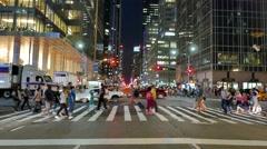 Urban metropolis lifestyle scenery. people crossing street Stock Footage