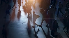 Pedestrians crossing city street at rush hour time Stock Footage