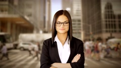 Urban people lifestyle background. attractive female model Stock Footage
