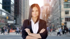 Confident young business women taking of glasses smiling Stock Footage