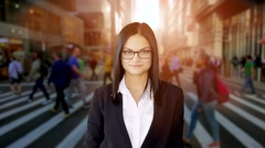 Lifestyle portrait of attractive sales women. business career people Stock Footage