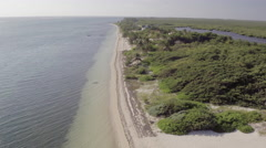Aerial of beautiful sea and Grand Cayman Beach Stock Footage