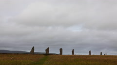 4K UltraHD The neolithic Ring of Brodgar, Orkney in Scotland Stock Footage