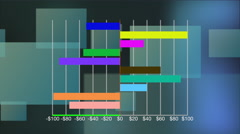 Bar graph forming against technical background Stock Footage