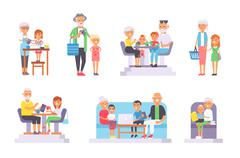 Old and young people vector set - stock illustration