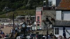 Lyme Regis - Beach Promenade Stock Footage