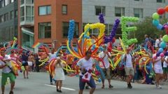 4K Gay Pride Supporters Dancing During The Parade Stock Footage