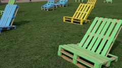 Colorful Wooden Beds From Pallets Stock Footage