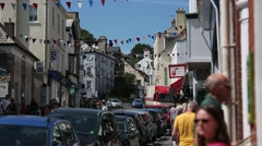 High street in an Traditional English sea side town Stock Footage