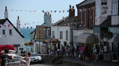 Lyme Regis - high street shoppers Stock Footage