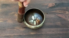 Singing Bowl with water Stock Footage