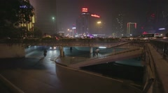 Night timelapse people underpass timelapse Stock Footage