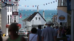Lyme Regis crowds and shops Stock Footage