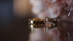 Wedding ring near a beautiful bouquet Stock Footage