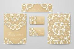 Gold wedding identity template design collection Stock Illustration