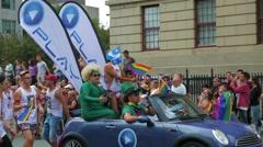 4K LGBT Gay Pride Parade Drag Queen in Car Stock Footage