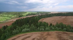 Plowed fields, forests and thundercloud aerial view Stock Footage