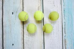 Tennis balls form olympic rings Stock Photos