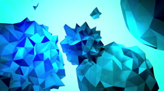 Rotating jagged blue orbs in space Stock Footage
