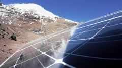 Solar panel on the mountain refuge Stock Footage