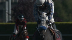 Horses Racing at a Race Track Stock Footage