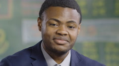 Portrait of a young black man, smiling Stock Footage
