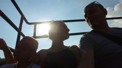 Tourists in a citysightseeing tourist bus with panoramic roof. Family on sigh Stock Footage