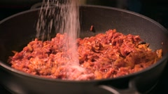 Frying vegetables with tomato paste Stock Footage
