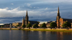 4K UltraHD Timelapse of cathedrals in Inverness in Scotland Stock Footage