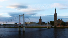4K UltraHD Timelapse of cathedrals and bridge in Inverness in Scotland Stock Footage