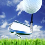 Golf concept 3D render. Just place your logo to the iron. Stock Illustration