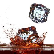 Whisky ( or cola ) splash against white 3D render Stock Illustration
