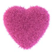 Pink fur heart 3D render Stock Illustration