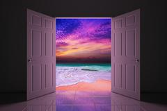 Your doorway to the sunset beach Stock Illustration