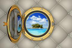 View of the tropical island from the porthole of luxurious yacht Stock Illustration