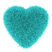 Turquoise furry heart 3D render Stock Illustration