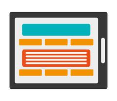 Tablet with webpage on screen icon Stock Illustration