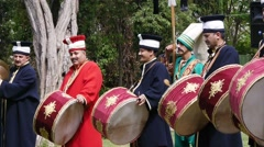 Musicians in ancient Turkish military costumes Stock Footage