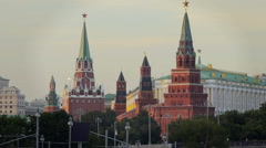Kremlin tower on the background of Big Stone Bridge Stock Footage