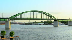 The Old Sava Bridge on the river in Belrade, Serbia Stock Footage