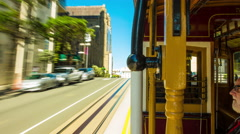San Francisco Cable Car Time-Lapse Outbound California Street Ride Interior Stock Footage