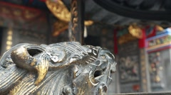 Stone lions,Taoist temple Stock Footage