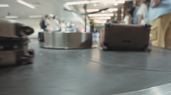 Luggage on a conveyor belt at the airport Stock Footage