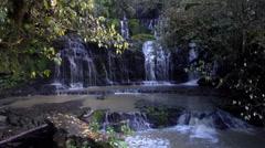 Beautiful Nature Purakaunui Falls Waterfall in The Catlins, Otago, New Zealand. Stock Footage