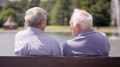 4K Happy senior male friends chatting in the park & looking out at view of lake Stock Footage