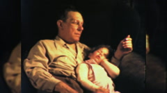 Father and Daughter Asleep Together NAP 1950s Vintage Film Home Movie 9929 Stock Footage