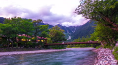 Zoom Out Time-Lapse Evening at Kappa-bashi Bridge, Kamikochi Japanese Alps Stock Footage