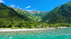 Zoom Out Time-Lapse Turquoise Kamikochi River Mountain Clouds Kamikochi Japan Stock Footage